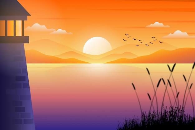 Paisaje del faro con la ilustración colorida hermosa del cielo de la puesta del sol y del paisaje del mar