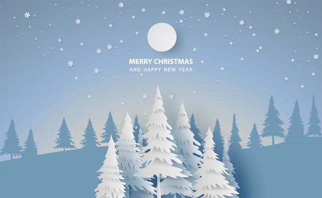 Paisaje feliz navidad y año nuevo con bosque de invierno