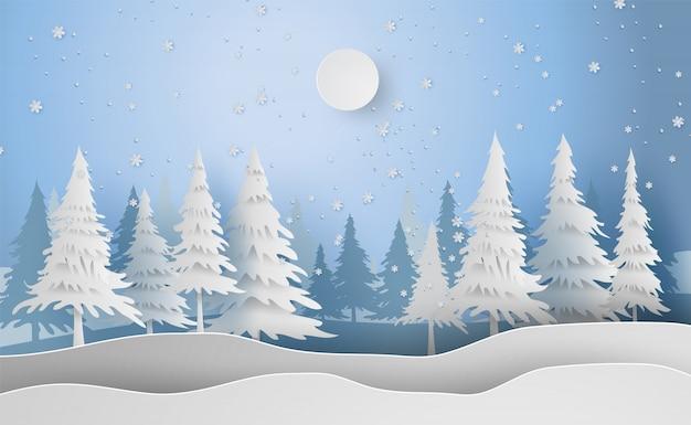 Paisaje feliz navidad y año nuevo en el fondo de vacaciones