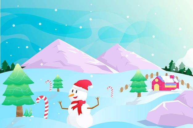 Paisaje feliz navidad invierno sobre fondo de montaña