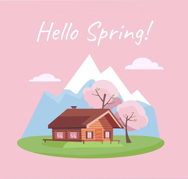 Paisaje floreciente de primavera con montañas y casa de campo.