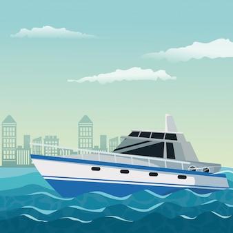Paisaje de fondo ciudad con barco sobre el agua
