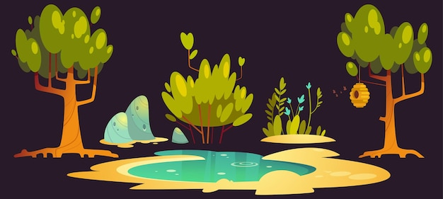 Paisaje forestal con árboles, estanque, piedras y colmena colgando de la rama