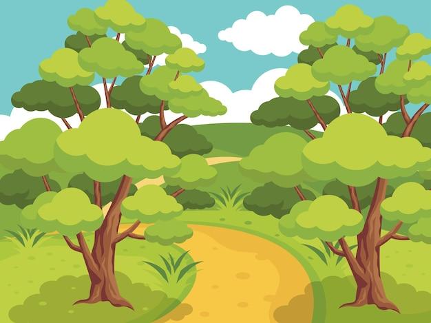 Paisaje forestal con árboles y senderos