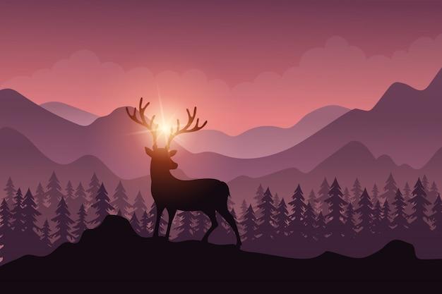 Paisaje forestal con ciervos en temporada de otoño.
