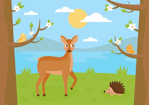 Paisaje forestal en verano. dibujos animados corzo, erizo y pájaros.