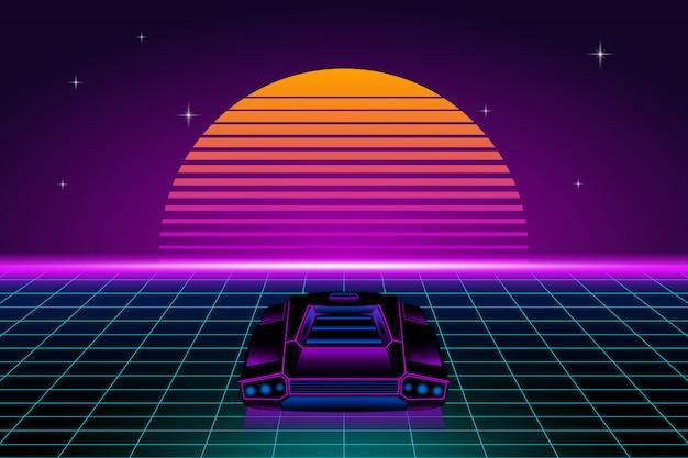 Paisaje futurista retro con coche retro y sol