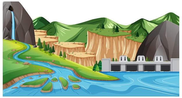 Paisaje de geografía terrestre y acuática