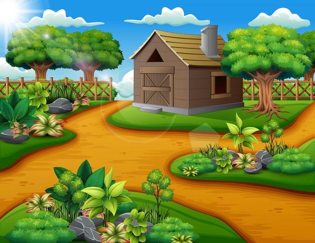 Paisaje de granja con cobertizo y plantas verdes.