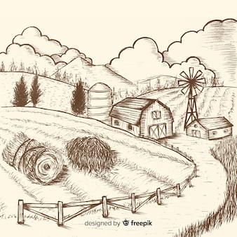 Paisaje de granja sin color dibujado a mano