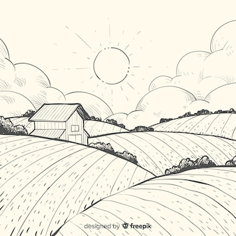 Paisaje de granja dibujado a mano