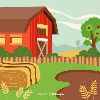 Paisaje de granja en dibujo animado