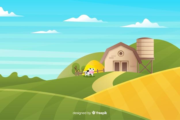 Paisaje de granja en diseño plano