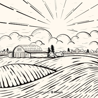Paisaje de granja en estilo dibujo a mano