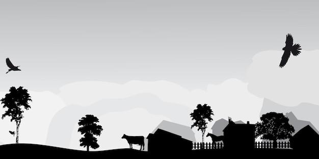 Paisaje gris con árboles y pueblo.