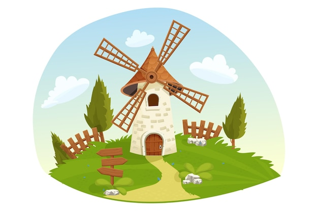 Paisaje de hadas de molino de viento con árboles de hierba de valla de madera agricultura en estilo de dibujos animados