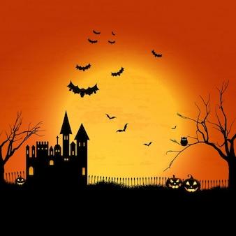 Paisaje de halloween con casa embrujada y cementerio
