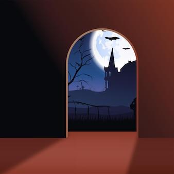 Paisaje de halloween con castillo, murciélagos, luna y cementerio. vector