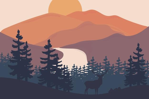 Paisaje hermosas montañas en la tarde son naranjas y verdes