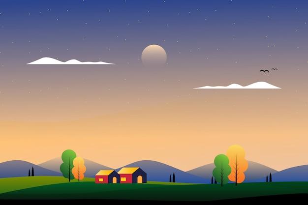 Paisaje hermoso campo con ilustración de montaña y cielo