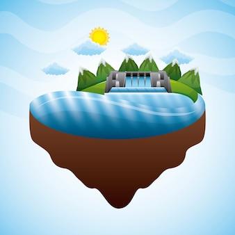 Paisaje hidroeléctrico presa electricidad