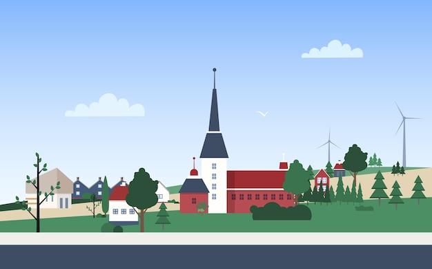 Paisaje horizontal con barrio de la ciudad con casas particulares o edificios residenciales