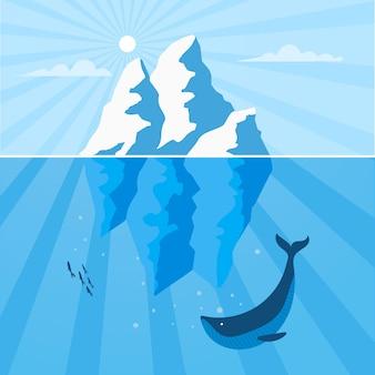 Paisaje de iceberg con ballenas y peces.
