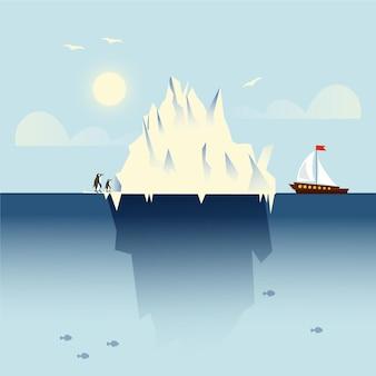 Paisaje de iceberg con barco y pingüinos.