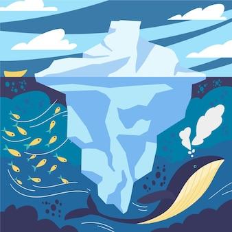 Paisaje de iceberg con peces y ballenas.