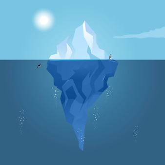 Paisaje de iceberg con pingüinos