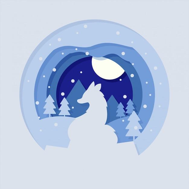 Paisaje con ilustración de corte de papel de lobo de pie y luna