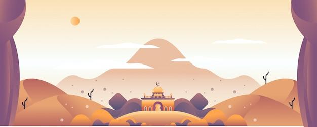 Paisaje ilustración islámica