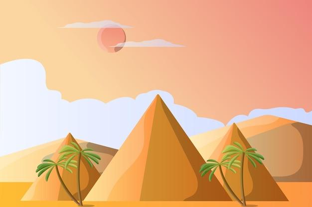 Paisaje de ilustración de pirámide para una atracción turística.