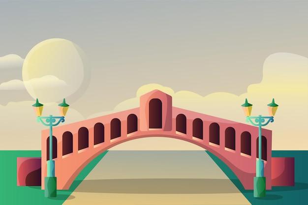 Paisaje de ilustración de puente de venecia para una atracción turística