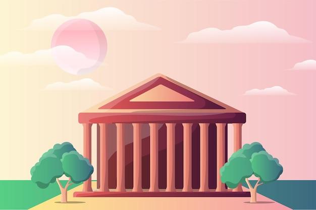 Paisaje de ilustración del templo del panteón para una atracción turística