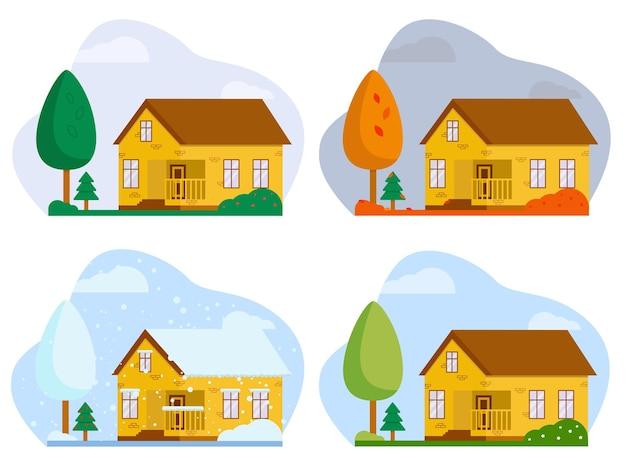 Paisaje de ilustración vectorial plana con una casa cuatro estaciones