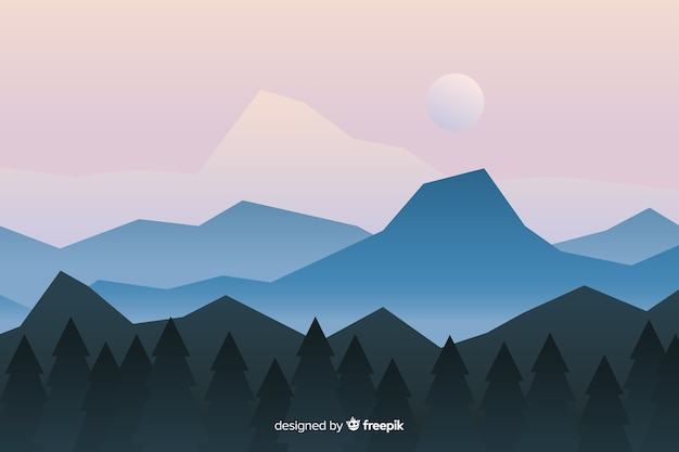 Paisaje ilustrado con montañas y bosque