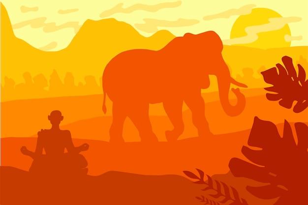 Paisaje indio con elefante y yog. panorama de vida silvestre tropical. escena natural en colores amarillo, marrón y naranja. vector