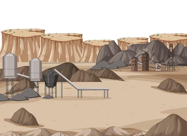 Paisaje de la industria minera del carbón durante el día.