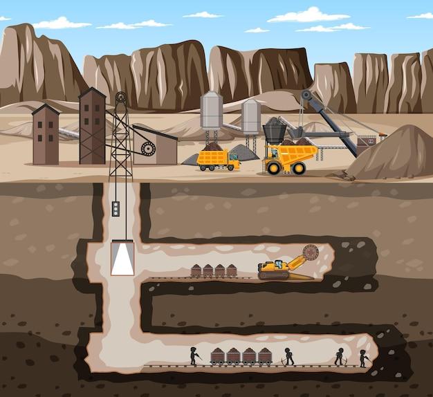 Paisaje de la industria minera de carbón con subterráneo.