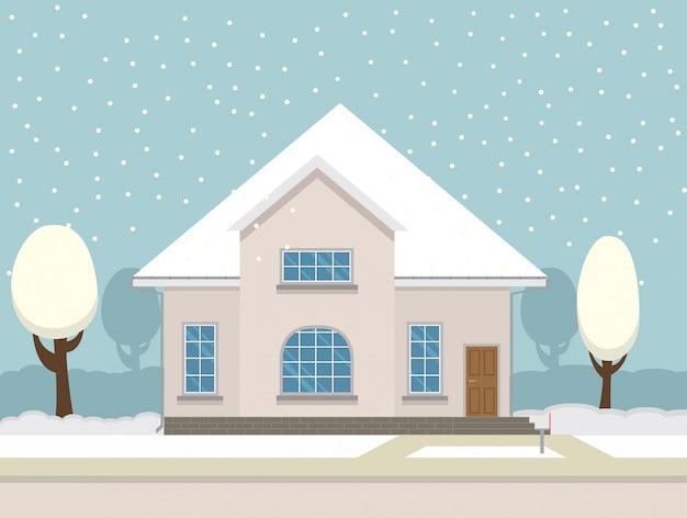 Paisaje inter con una casa de campo y nieve que cae.
