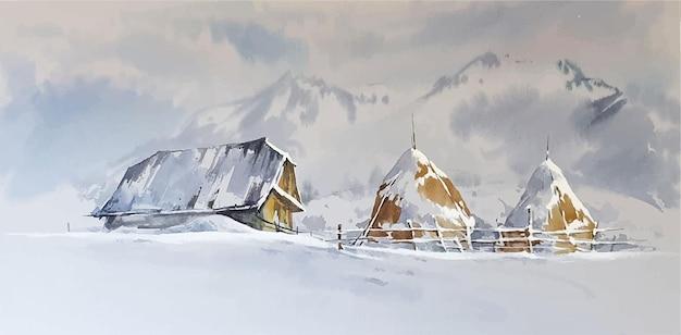 Paisaje invernal en acuarela con pintura de una casa