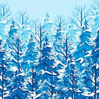 Paisaje invernal adorable con árboles nevados