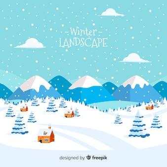 Paisaje invernal adorable con diseño plano