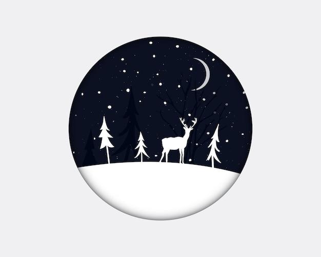 Paisaje invernal con árboles de navidad y un ciervo de pie sobre la blanca nieve por la noche en marco redondo. ilustración de papercut.