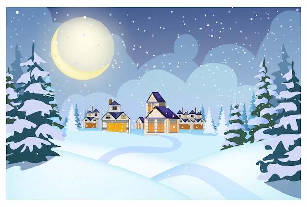 Paisaje invernal con cabañas, montones de nieve y abetos.