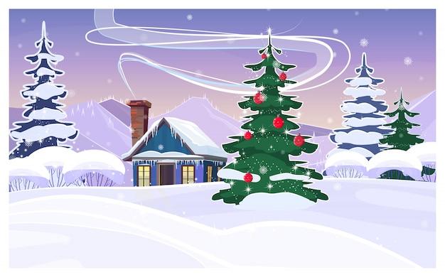 Paisaje invernal con casa y abeto decorado.