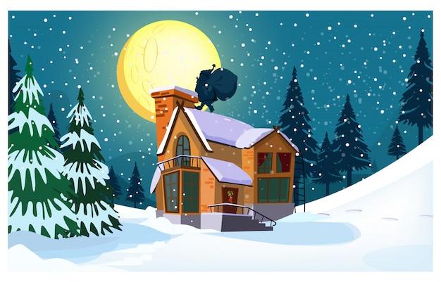 Paisaje invernal con casa de campo, luna, silueta de santa claus