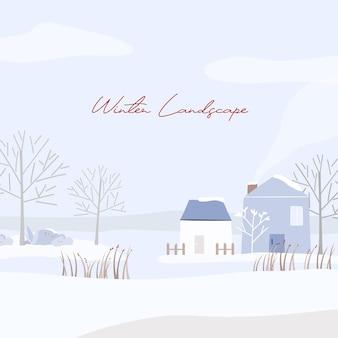 Paisaje invernal con casa cubierta de nieve