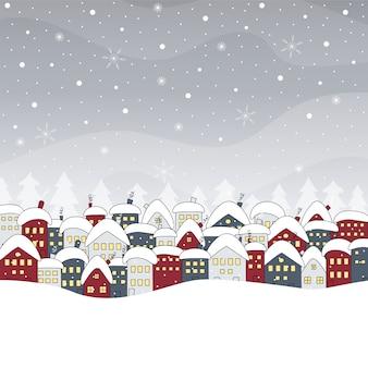 Paisaje invernal con casas y nevadas. dibujado a mano .